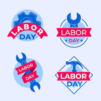 Flat design usa labor day badge collection