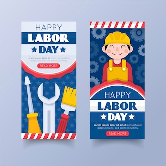 Flat design usa labor day banners template