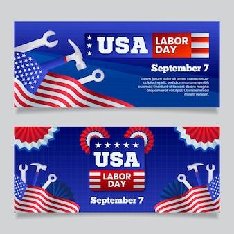 フラットなデザイン米国労働者の日バナーテンプレート