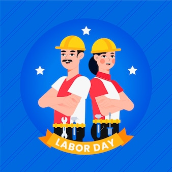 Flat design usa labor day concept