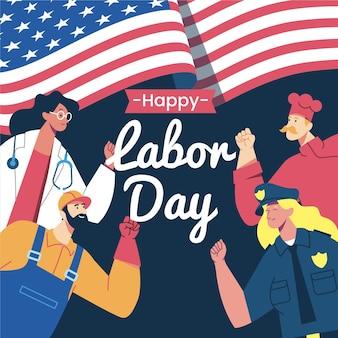 평면 디자인 미국 노동절 개념