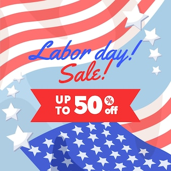 Flat design usa labor day sale concept