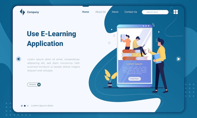 Flat design use e-learning application landing page template