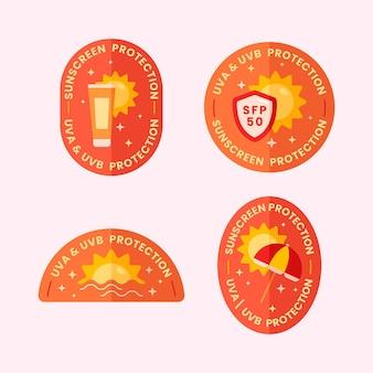 Коллекция уф-значков в плоском дизайне