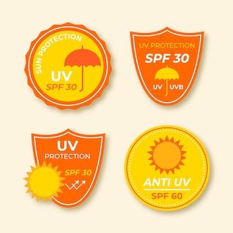 Flat design uv badges collection