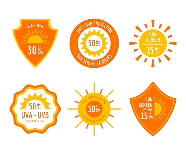 Flat design uv badges pack