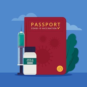 여행을 위한 평면 디자인 예방 접종 여권