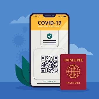 旅行のためのフラットなデザインの予防接種パスポート