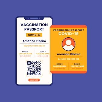Modello di passaporto per la vaccinazione dal design piatto
