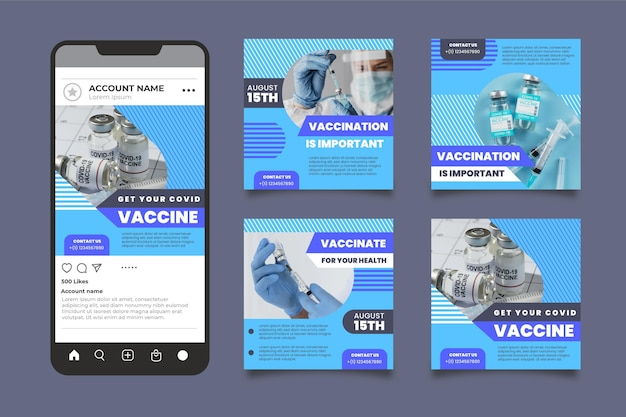Raccolta di post instagram vaccino design piatto