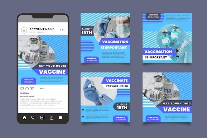 flat design vaccine instagram post collection
