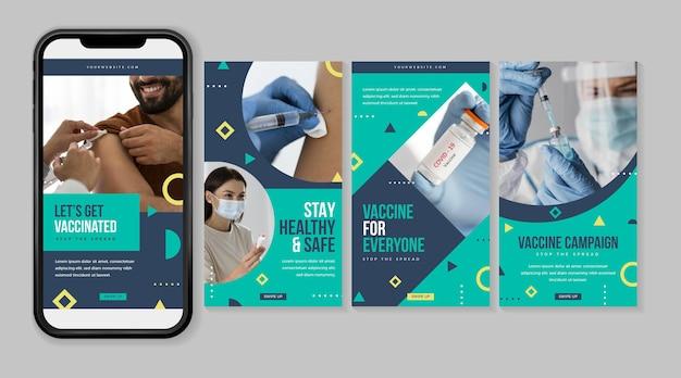 Raccolta di storie di instagram di vaccino design piatto