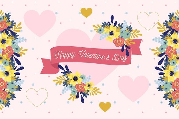 花の心とフラットなデザインのバレンタインデーの背景