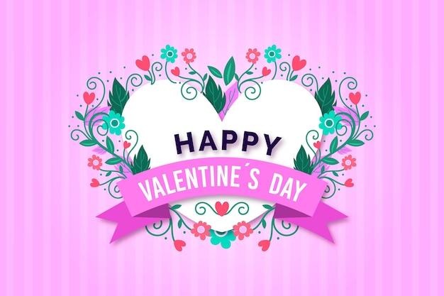 Sfondo di san valentino design piatto con fiori e cuore