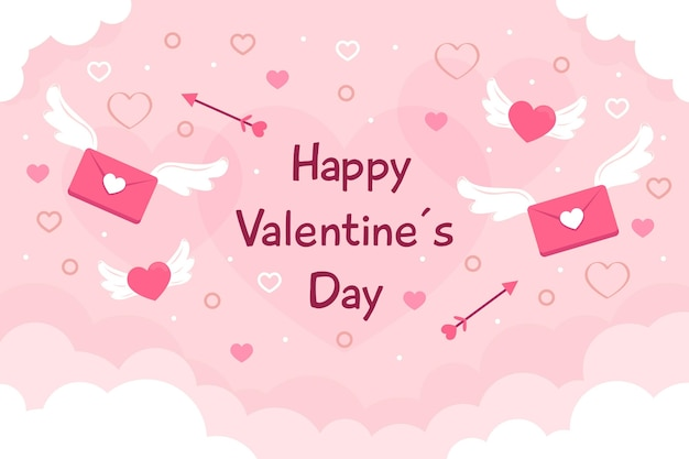 Flat design valentine's day background with greeting