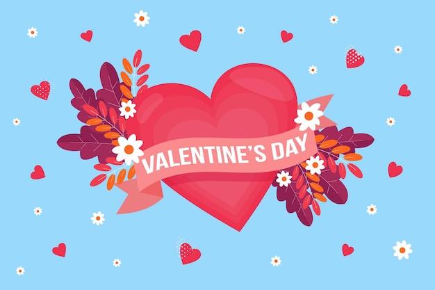 하트와 꽃 플랫 디자인 발렌타인 배경