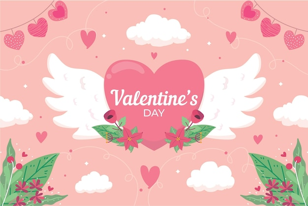 Flat design valentine's day background