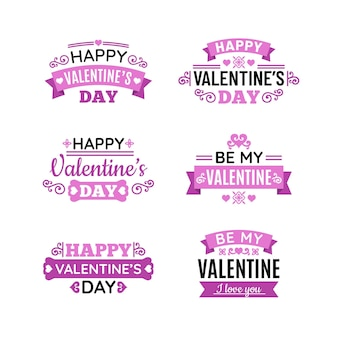 Flat design valentine's day badges