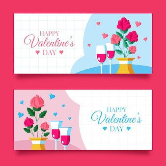 Flat design valentine's day banners collection