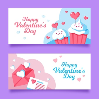 Flat design valentine's day banners set