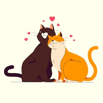 Flat design valentine's day cats couple