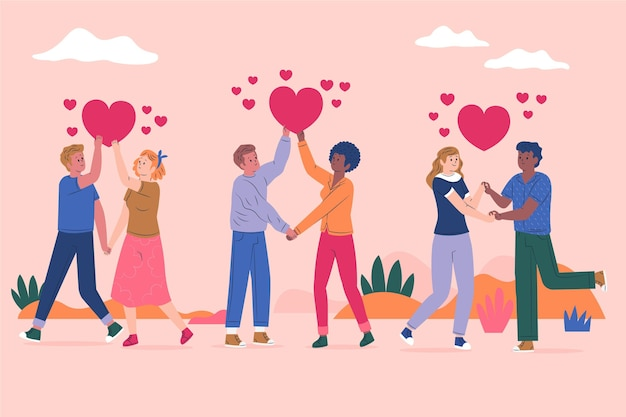 Flat design valentine's day couple pack