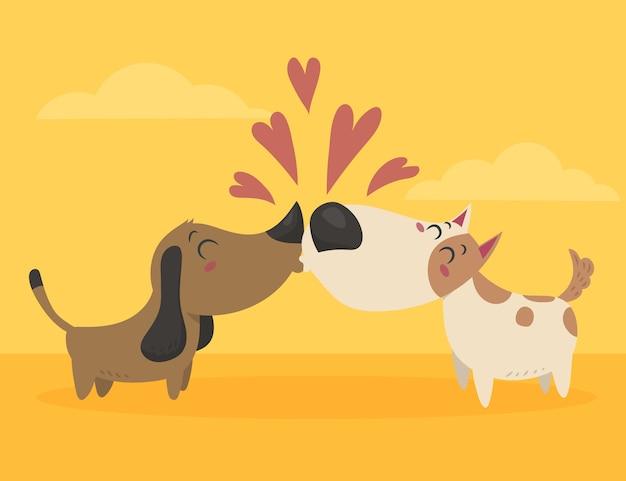 フラットなデザインのバレンタインデーの犬のカップル
