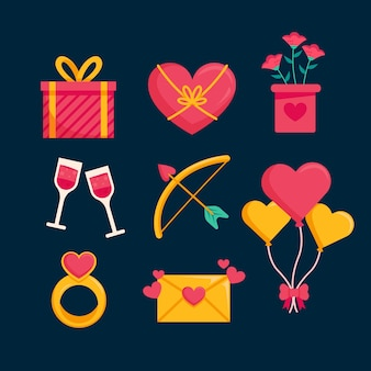 Flat design valentine's day element collection