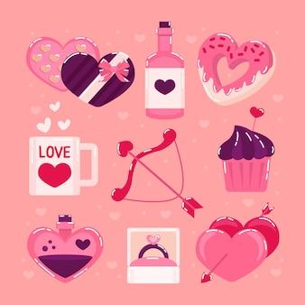 Flat design valentine's day element pack