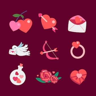 Pacchetto di elementi di san valentino design piatto