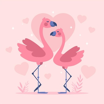 Flat design valentine's day flamingo couple