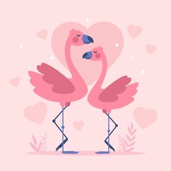 Плоский дизайн пара фламинго на день святого валентина