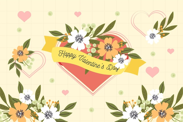 フラットなデザインのバレンタインデーの花の背景