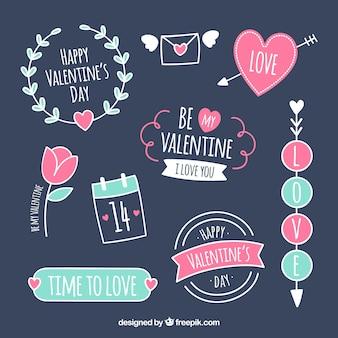 Flat design valentine's day label / badge collection