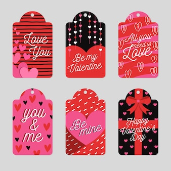 Flat design valentine's day label collection