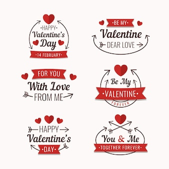 Flat design valentine's day label pack