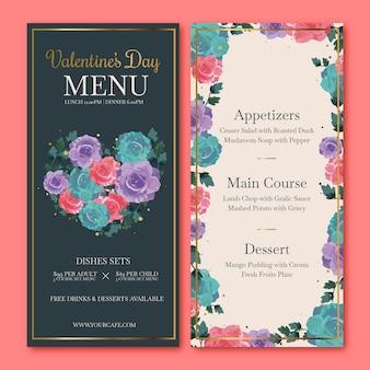 Flat design valentine's day menu template