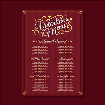Flat design valentine's day menu template