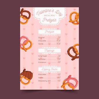 Flat design valentine's day menu