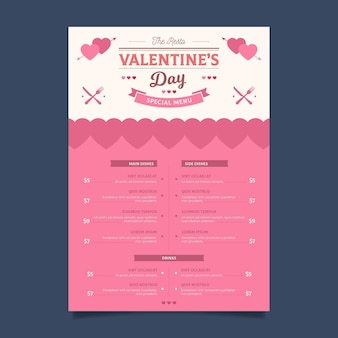 Flat design valentine's day menu