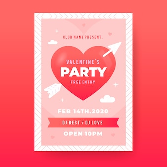 Flat design valentine's day party flyer template