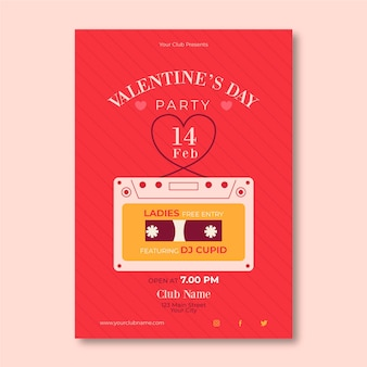 Flat design valentine's day party poster template