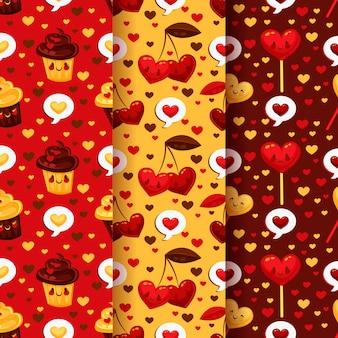Flat design valentine's day pattern collection