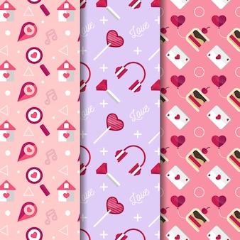 Flat design valentine's day pattern pack