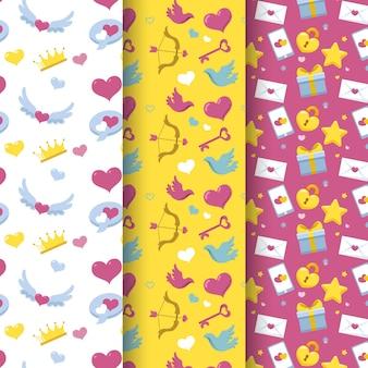 평면 디자인 발렌타인 패턴 팩