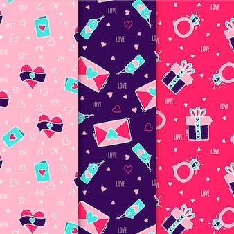 Flat design valentine's day pattern set