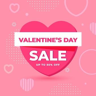 Flat design valentine's day sale banner