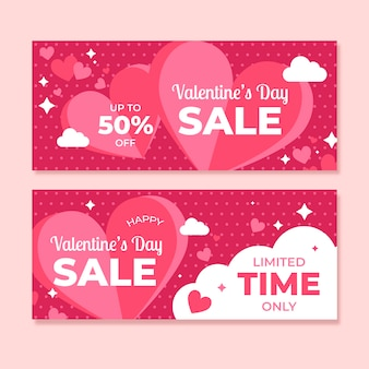 Flat design valentine's day sale banners pack