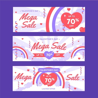 Flat design valentine's day sale banners