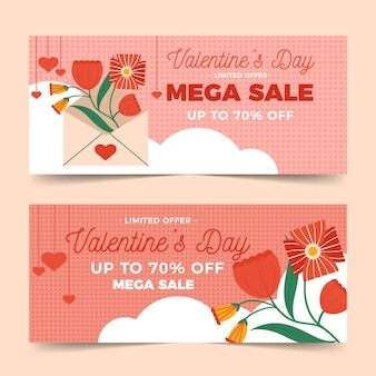 Flat design valentine's day sale horizontal banners